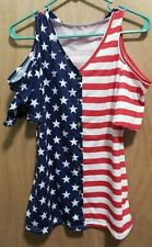 Ladies Red White & Blue Americana Open Shoulder Top Size S With Stars