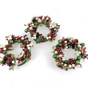 Set of 3 Beaded and Pearl Candle Rings by Valerie Red