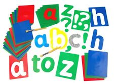 Large Alphabet Set of 27 Stencils Lower Case | Washable | with Punctuation Marks