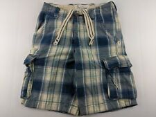 Abercrombie Youth Sz 14 Blue Plaid Cargo Shorts Thick Heavy Button Fly Pockets