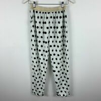 White Label Noba Womens Pants Size 00 AU 6-8 White Polka Dot Elastic Waist
