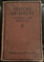 History Of Europe Ancient And Medieval Antique Textbook (1920, Hardcover)