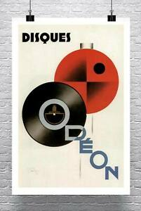 Disques Odeon 1929 Art Deco Music Poster Fine Art Giclee Print Canvas or Paper