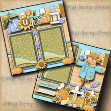 AUTUMN FAMILY ~ 2 premade scrapbook pages paper piecing layout DIGISCRAP #A0025