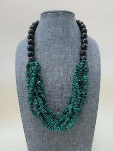 Desert Rose Jay King Beaded Onyx Malachite Bib Necklace W/ Sterling Silver Clasp