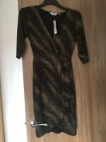 Black Wrap Party Dress With Gold Glitter Size 10 New Dorothy Perkins Petite