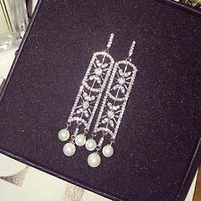 Boucles d'Oreilles Clous Argenté Rectangle Art Deco Perle Mariage Dentelle P1