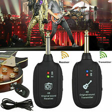 UHF Guitar Wireless System Transmitter+Receiver Built In Rechargeable Battery