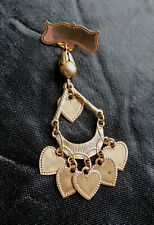 VICTORIAN PIN WITH HEART DANGLES - Antique