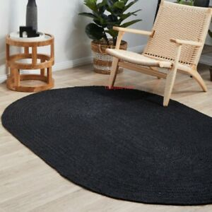 Rug 100% Natural Jute Braided oval Black Rug Handmade Reversible Area Carpet Rug