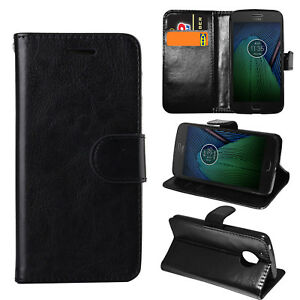 Black Premium Leather Flip Case Stand Cover For Various Mobile Motorola Moto