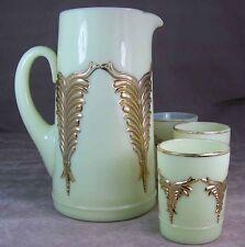 Antique Heisey Elegant Glass #1280 Winged Scroll Ivorina Verde Gilt Tankard Set