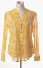 Anthropologie Maeve Yellow Floral Pintuck Blouse Button Front Long Sleeve Size 4