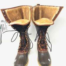 """Womens 10 M LL Bean Bean Boots 16"""" Shearling Lined Tumbled Leather Rich Brown"""