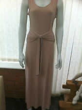 Tiana B  Full Length Sleeveless Drape Waist Tie Front Dress in Beige Size 10