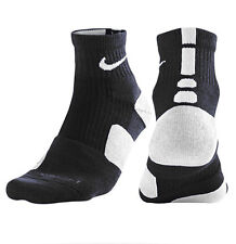 Nike L ELITE High Quarter Basketball Large 8-12 Crew Socks 1/4 Black White Pair