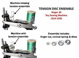 Singer 20 Toy Sewing Machine Parts TENSION SPRING DISC ENSEMBLE
