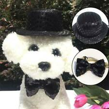 Dog Black Sequin Top Hat Bow Tie Set Pet Hat Cosplay Holiday Party Christmas Cxz