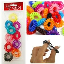 10 Spiral Hair Bobbles Coil Elastic Bands Stretchy No Tangle Scrunchies Tie Wire