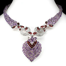 RARE! NATURAL PURPLE AMETHYST & CZ 14K ON 925 SILVER ENAMEL BIG HEART NECKLACE