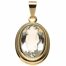 Echte Edelstein-Halsketten & -Anhänger aus Gelbgold mit Aquamarin für Damen