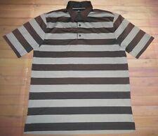 Greg Norman Play Dry Short Sleeve Ss Polo Shirt Mens Medium Brown Gray Striped