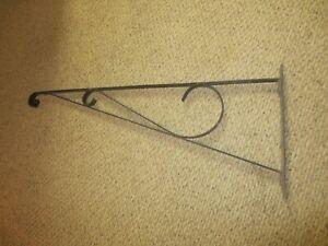"36"" Wrought Iron Hanging Bracket for Antique Porcelain or Enamel Trade Sign"