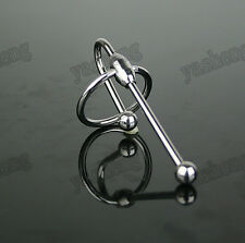 Stainless Steel Penis Plug With Glans Ring solid Male tube Urethral Sound
