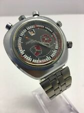 Vintage Rare Working 70's Bullhead Sorna 5 Crowns Chronograph World timer GMT