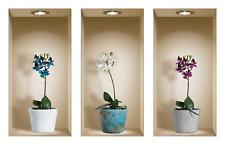 The Nisha Art Magic 3D Vinyl Removable Wall Sticker Decals DIY, Set of 3, Orchid