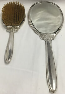 Vintage Sterling Silver Hair Brush & Mirror Combo Set Mid Century Modern