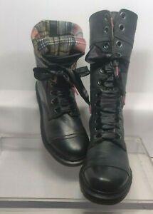 Dr. Martens Triumph 1914 Leather Plaid Tartan Distressed Combat Boots US 10