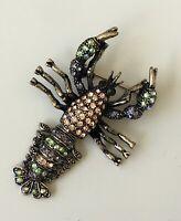 Unique Lobster pin brooch metal with crystals