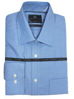 M&S BLUE Pure Cotton Regular Fit Non-Iron Checked Long Sleeve Luxury Shirts