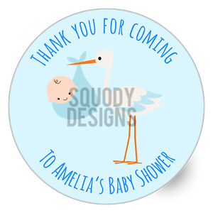 Baby Shower Party Printed Round Stickers - Custom Craft Labels - Personalised