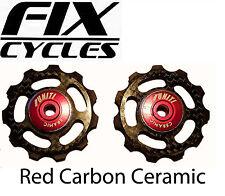 Componentes y piezas rojas de fibra de carbono para bicicletas