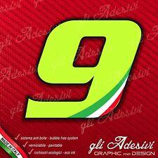Adesivo Stickers NUMERO 9 moto auto cross gara Verde Acido Kawa & Tricolore