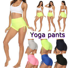 Women High Waist Yoga Pants Running Up Hip Gym Shorts Fitness Sports Leggings