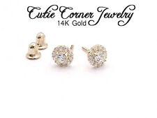 Baby Small 14K Yellow Gold Created White Diamond Flower Screw Back Stud Earrings
