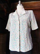 CAMPUS CASUALS Vintage Womens Short Sleeve Button Down Blouse Floral Print M