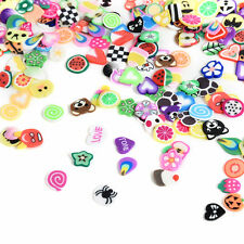 1000pcs Cute Mixed Fruit Animals Slice Clay Nail Art Tips Glitter Crafts Decor