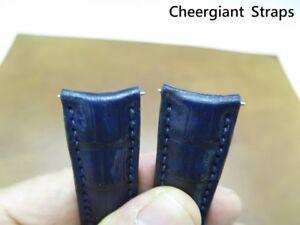 Rolex Daytona curved lug end blue crocodile strap Made In Taiwan 勞力士圓弧型錶耳鱷魚手工錶帶