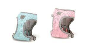 Hugo & Hudson Herringbone Dog Puppy Harness - Pink/Aqua - XS/S/M/L