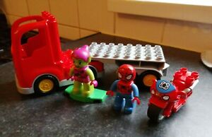 LEGO DUPLO SPIDER-MAN GREEN GOBLIN TRUCK & MOTORBIKE MARVEL LOVELY CONDITION