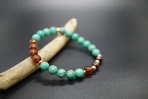 Genuine Hessonite Garnet with Turquoise Beaded Bracelet 7MM Stretch Bracelet