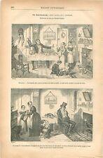 La Bouteille Caricature de George Cruikshank illustrateur UK GRAVURE PRINT 1879