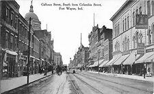 c1910 Calhoun Street, South From Columbia Street, Ft Wayne, Indiana Postcard