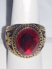 UNISEX GOLD STAINLESS STEEL RED CRYSTAL RING  SIZE 9, 10