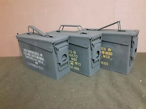 ( 3 PACK)ONCE USED MILITARY 7.62 / 30 Cal M19A1 AMMO CAN ** FREE SHIPPING**