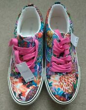 Next Ladies Girls Trainers Flowers Holographic Detail, Uk 5 ( EUR 38) NEW